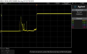 Button bounce captured on oscilloscope